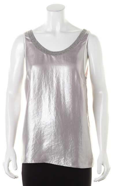 SANDRO Silver Gray Silk Trim Sleeveless Oversized Blouse