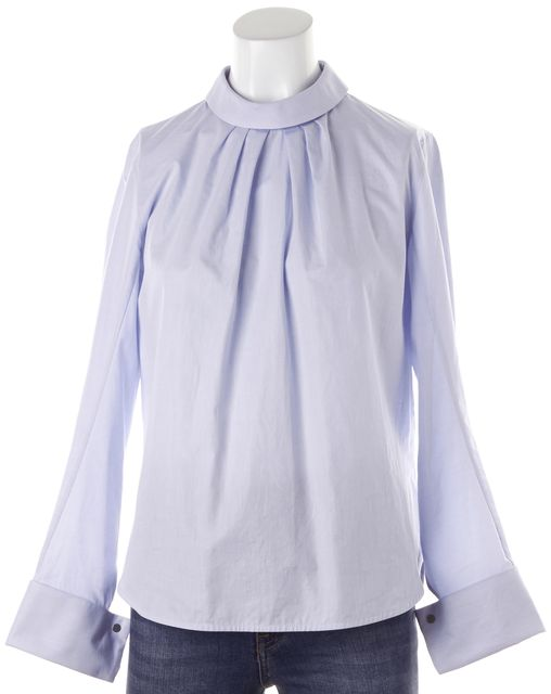 SANDRO Blue Cotton Long Sleeve Pleated Button Back Blouse
