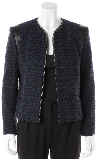 SANDRO Blue Black Tweed Leather Silver Chain Trim Open Jacket