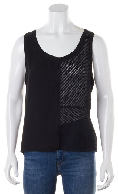 SANDRO Black Striped Mesh Trim Semi Sheer Tank Top