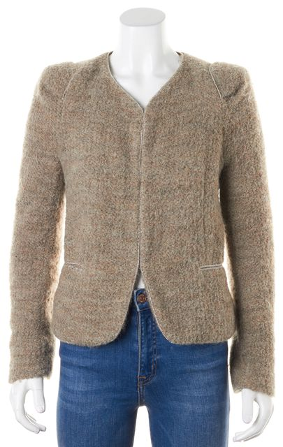 SANDRO Beige Textured Wool Hook & Eye Vendetta Jacket