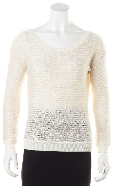 SANDRO Ivory Metallic Gold Sequin Scoop Neck Sweater