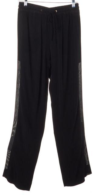 SANDRO Black Mesh Panel Elastic Waist Drawstring Pants