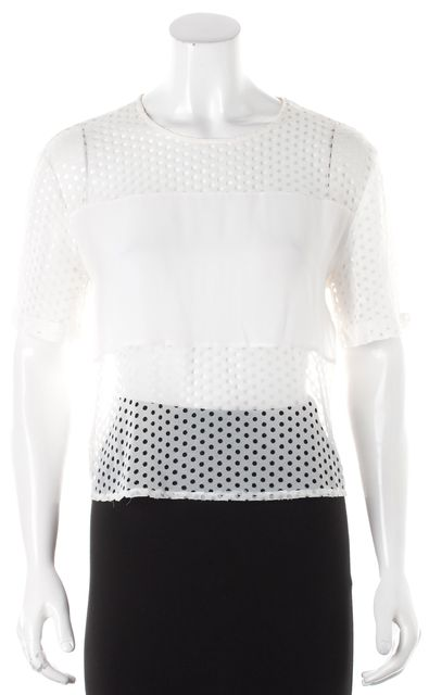 SANDRO Ivory Sheer Keyhole Back Blouse Top