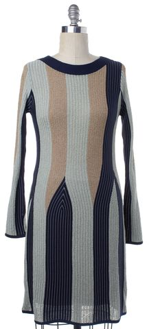 SEE BY CHLOÉ Blue Green Beige Striped Stretch Dress Size 6 IT 42