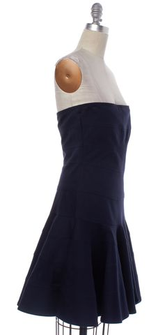 SEE BY CHLOÉ Navy Blue Cotton Strapless Fit & Flare Dress
