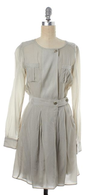 SEE BY CHLOÉ Ivory Beige Grid Dress