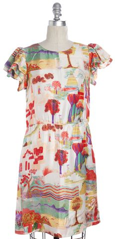 SEE BY CHLOÉ Multi-color Graphic Silk Shift Dress Size 2