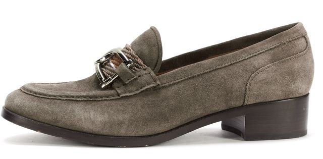 SEE BY CHLOÉ Taupe Gray Suede Woven Slide On Loafers