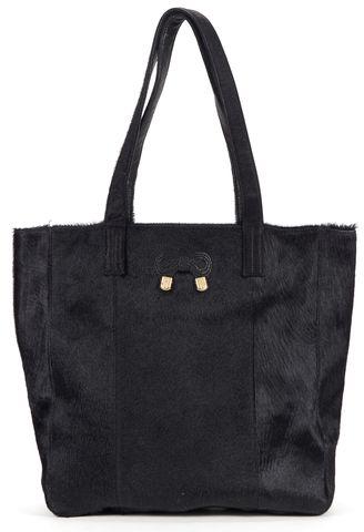 SEE BY CHLOÉ Black Calf Hair Leather Trim Tote Bag