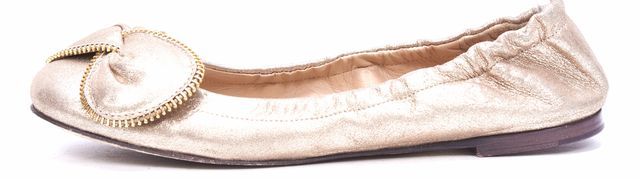 SEE BY CHLOÉ Gold Leather Zipper Detail Flats