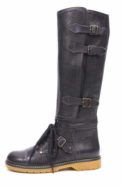 SEE BY CHLOÉ Black Side Zipper Triple Buckle Knee High Boots