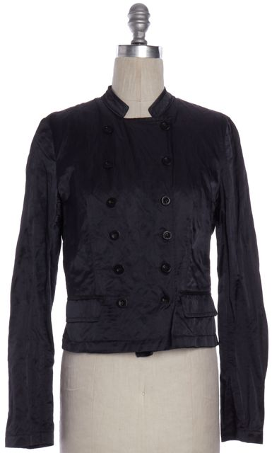 SEE BY CHLOÉ Navy Blue Metallic Double Breasted Basic Jacket