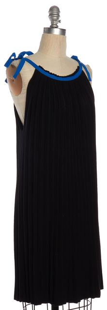 SEE BY CHLOÉ Black Knit Blue Tie Straps Pleated Shift Dress