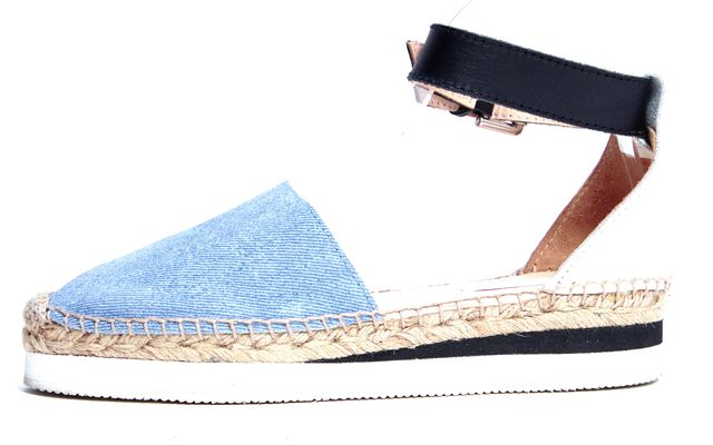 SEE BY CHLOÉ Blue White Black Leather Ankle Strap Espadrille