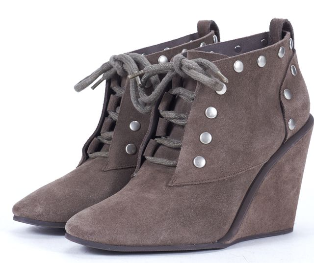 SEE BY CHLOÉ SEE BY CHLOÉ Gray Suede Studded Lace Up Wedge Ankle Boots