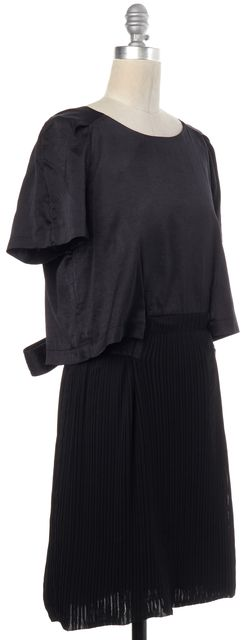 SEE BY CHLOÉ Black Pleated Tied Waist Blouson Dress