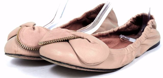 SEE BY CHLOÉ Tan Beige Leather Bow Zipper Detail Flats