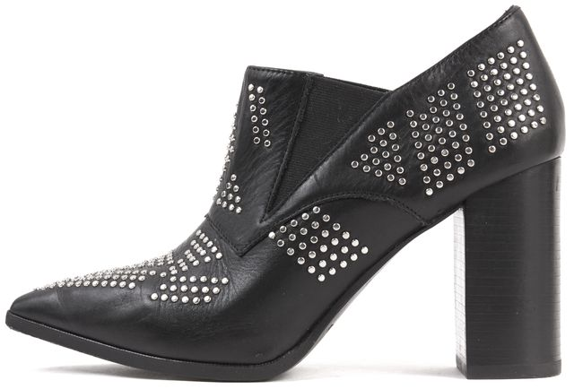 SEE BY CHLOÉ Black Silver Studded Ankle Booties