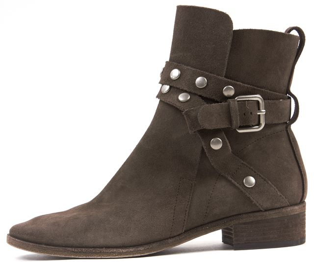 SEE BY CHLOÉ Brown Suede Studded Strap Janis Ankle Boots