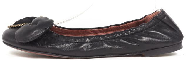 SEE BY CHLOÉ Black Leather Zipper Detail Ballet Flats