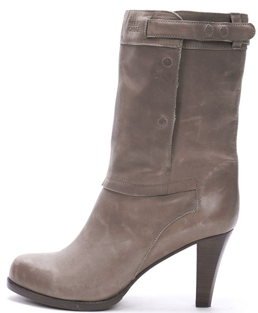 SEE BY CHLOÉ Taupe Gray Leather Mid-Calf Button Side Boots