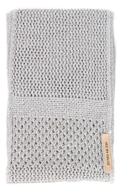SEE BY CHLOÉ Silver Metallic Sheer Open Knit Long Skinny Scarf