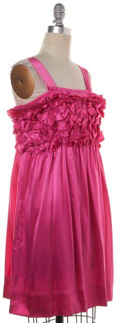 SEE BY CHLOÉ Fuchsia Pink Silk Ruffle Casual Empire Waist Dress
