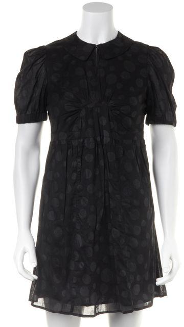 SEE BY CHLOÉ Black Tonal Coated Polka Dot Cotton Shirt Dress