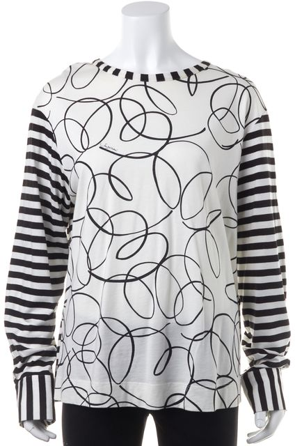 SEE BY CHLOÉ Ivory Black Stripped Abstract Print Casual Knit Top
