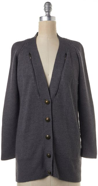 SEE BY CHLOÉ Gray Casual Wool Button Front V-Neck Cardigan w Zip Detail