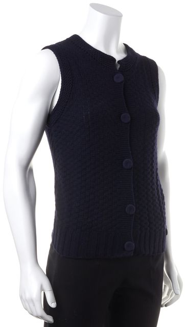 SEE BY CHLOÉ Navy Blue Wool Button Front Cardigan Vest Sweater