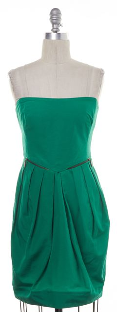 SEE BY CHLOÉ Green Casual Strapless Zip Pocket Pleated Sheath Dress