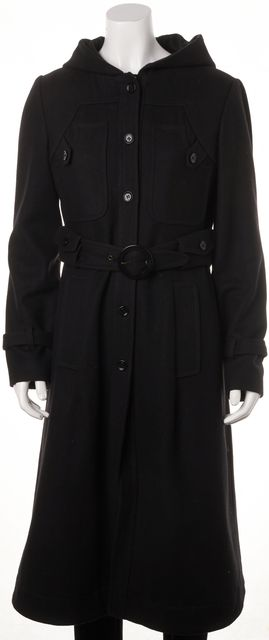SEE BY CHLOÉ Black Wool Full Length Belted Winter Coat