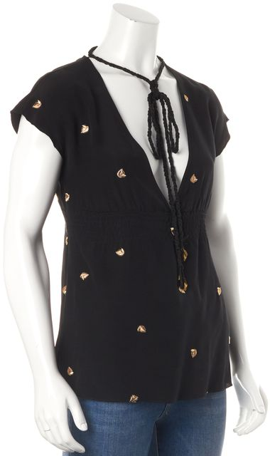 SEE BY CHLOÉ Black Embellished Silk Blouse Top