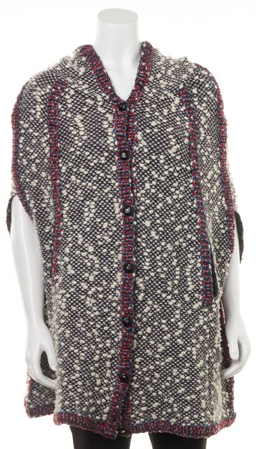 SEE BY CHLOÉ Gray Abstract Wool Poncho Top Size Fits like 38