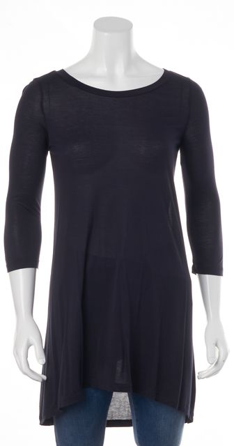 SEE BY CHLOÉ Navy Blue Casual Oversized Boat-Neck Tunic Long Knit Top