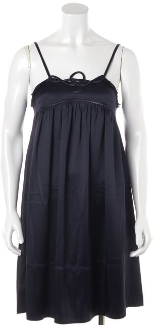 SEE BY CHLOÉ Navy Blue Casual Silk Empire Waist Relaxed Fit Shift Dress