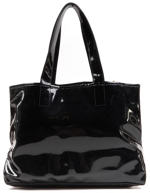 SEE BY CHLOÉ Black Patent Leather Zip Side Tote Shoulder Bag