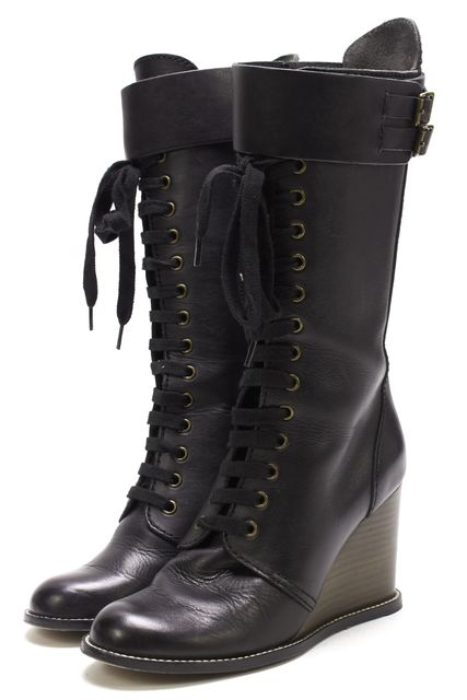 SEE BY CHLOÉ SEE BY CHLOÉ Black Leather Lace Up Buckle Side Stacked Wedge Mid-Calf Boot