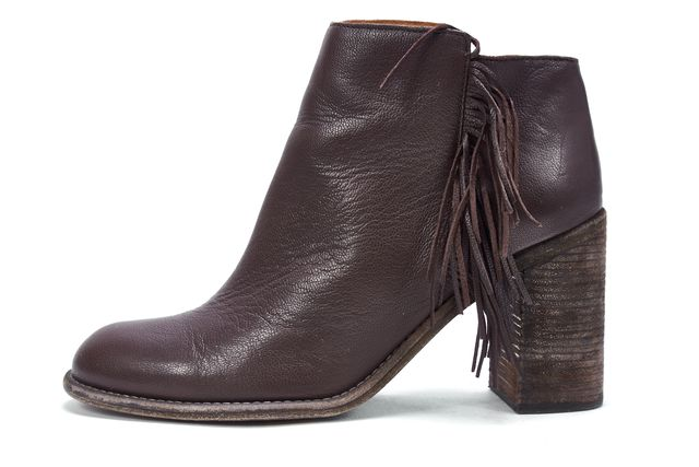 SEE BY CHLOÉ SEE BY CHLOÉ Brown Leather Fringe Side Ankle Boot Chunky Heel Booties