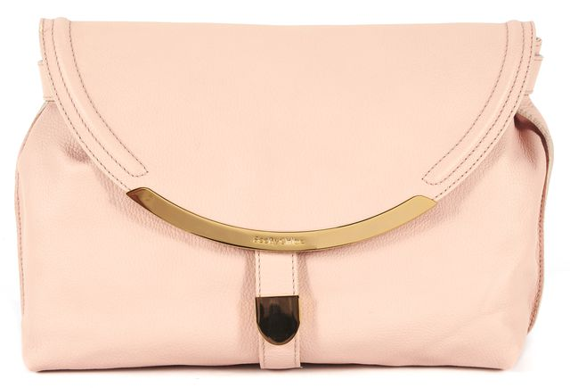 SEE BY CHLOÉ Pink Pebbled Leather Gold Tone Hardware Fold Over Lizzie Clutch