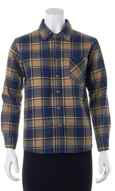 SEE BY CHLOÉ Blue Brown Cotton Plaid Button Down Shirt Top