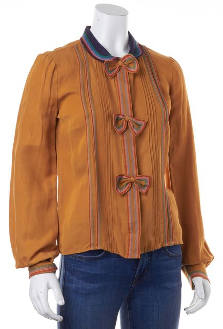 SEE BY CHLOÉ Brown Silk Multi-Colored Striped Bow Button Down Shirt