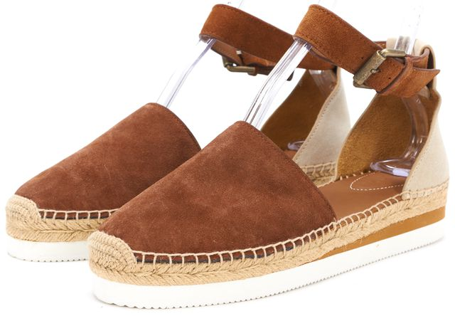 SEE BY CHLOÉ Brown Suede Ankle Strap Platform Flats