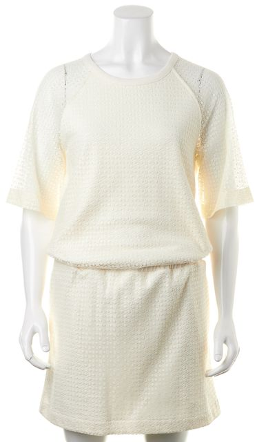 SEE BY CHLOÉ Ivory Lace Short Sleeve Casual Blouson Dress