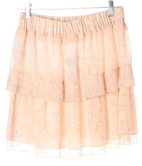SEE BY CHLOÉ Soft Pink Orange Abstract Pleated Tiered Skirt