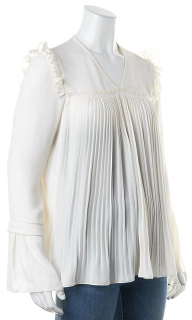 SEE BY CHLOÉ Off White Pleated Ruffle Trim Bell Sleeves Blouse