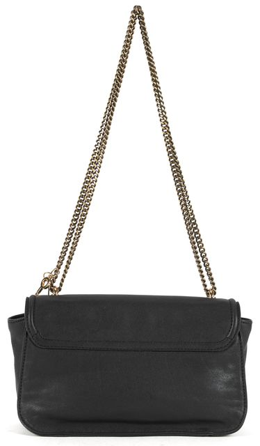 SEE BY CHLOÉ Black Leather Gold Tone Hardware Chain Strap Crossbody Shoulder Bag