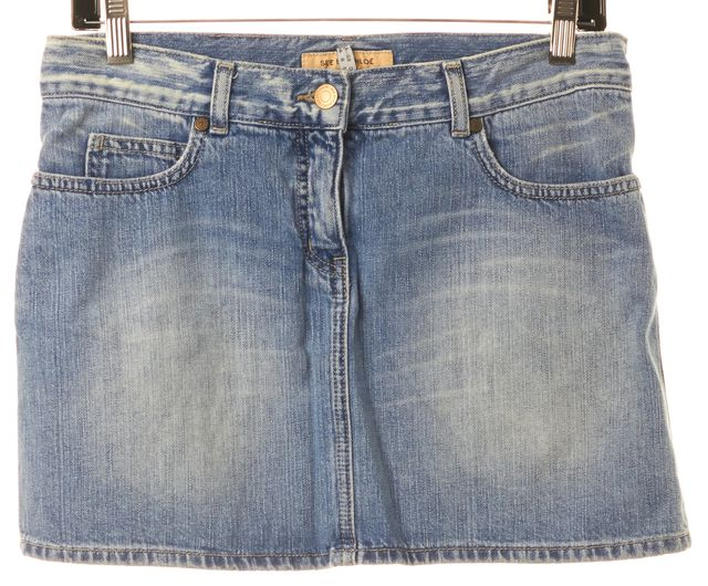 SEE BY CHLOÉ Blue Light Wash Above Knee Denim Skirt